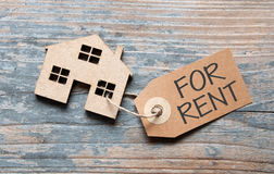 Miniature real estate house with for rent label Royalty Free Stock Photography