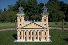Miniature replica of the church in Debrecen, Szarvas, Hungary.  Royalty Free Stock Photos