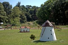 Miniature replica of Dorozsma windmill, Szarvas, Hungary Stock Photo
