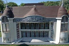 Miniature replica of the theater in Szolnok, Szarvas, Hungary.  stock image