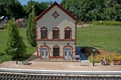 Miniature replica of Toszeg Railway Station, Szarvas, Hungary Royalty Free Stock Photography