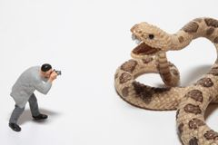 Miniature of a reporter in front of a giant snake Stock Photography