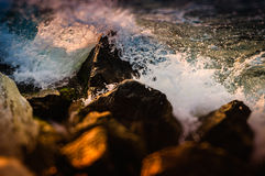 Miniature Rocky Shore And Ocean Waves Royalty Free Stock Image