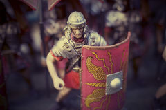 Miniature of roman empire' soldiers. Miniature of roman empire soldiers instagram style royalty free stock photography
