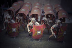 Miniature of roman empire' soldiers. Miniature of roman empire soldiers instagram style royalty free stock photos