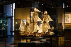 Miniature sailing boat model  inside the German Museum of Techno. Berlin, Germany - February 2018: Miniature sailing boat model  inside the German Museum of Stock Image
