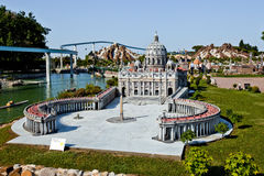 The miniature of Saint Peter`s Square in Vatican in Park of miniatures in Rimini, Italy Royalty Free Stock Images