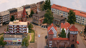 Miniature Scale Model Town. Realistic-looking town or village crafted in miniature scale model Royalty Free Stock Images
