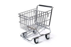 Miniature Shopping Cart on White Stock Images