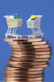 Miniature shopping carts on coins Stock Images