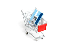 Miniature shopping trolley Royalty Free Stock Photos