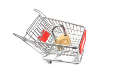 Miniature shopping trolley Royalty Free Stock Photography