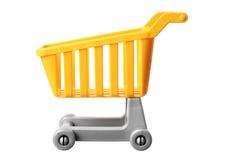 Miniature Shopping Trolley. On White Background Stock Photos