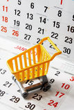 Miniature Shopping Trolley on Calendar Royalty Free Stock Photography