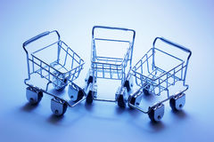 Miniature Shopping Trolleys Royalty Free Stock Photos
