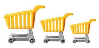 Miniature Shopping Trolleys. On White Background Royalty Free Stock Photo