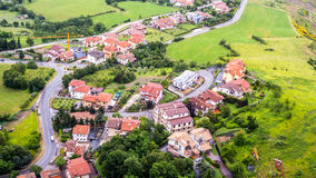 Miniature of a small village from the top. Roof view photo of a small italian village. Several miniature provincial cottages located near the main town road Royalty Free Stock Photography