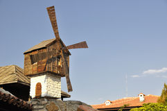 Miniature small windmill on roof in Sozopol, Bulgaria Royalty Free Stock Photography