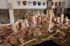 A miniature St. Gimignano. Totally hand made miniature reconstruction of the historical town of San Gimignano  in Tuscany , a painstaking job that paid off Stock Images