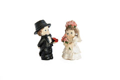 Miniature statue of cute bridal couple Royalty Free Stock Photos