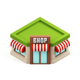 Miniature store illustration. Shopping building icon. Cartoon shop isolated on white background. 3d rendering image. Stock Photo