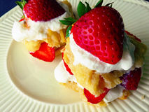 Miniature strawberry shortcakes. Two-bite shortcakes with strawberries and whipped cream stock image