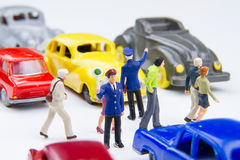 Miniature tiny toys police are standing Do not driveway for peop Stock Photo