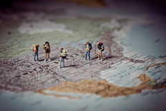 Miniature tourists in US. Color tone tuned. Royalty Free Stock Images