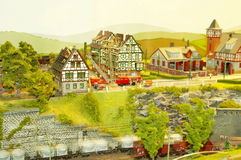 Miniature Town. A scene of a miniature town Royalty Free Stock Photo