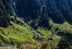Miniature town in Klausenpass Valley Royalty Free Stock Photo