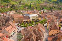 Miniature town with tilt shift effect Stock Photography