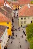 Miniature town with tilt shift effect. A view of a historical citadel from above, using the tilt shift effect to give the impression of a miniature town. You can Royalty Free Stock Photos