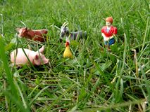 Miniature toy farm animals in the grass Stock Image