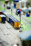 Miniature toy model train locomotives on display Royalty Free Stock Photos