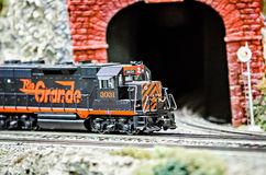 Miniature toy model train locomotives on display Royalty Free Stock Photography