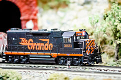 Miniature toy model train locomotives on display Stock Photos