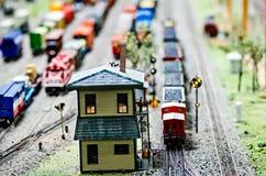 Miniature toy model train locomotives on display Royalty Free Stock Photo
