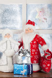 Miniature toy Santa Claus, Snow Maiden Royalty Free Stock Photos