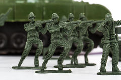 Miniature Toy Soldiers and Tank Royalty Free Stock Photography