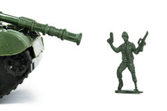 Miniature Toy Tank and Soldier Stock Image