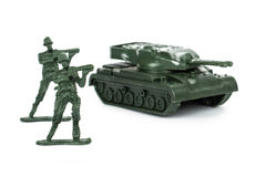 Miniature Toy Tank and Soldiers Stock Images