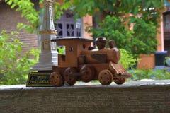 Miniature train adjacent to miniature monument jogja. Beautiful as a scene Stock Image
