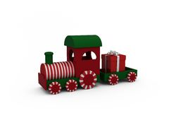 Miniature train with gift Royalty Free Stock Images