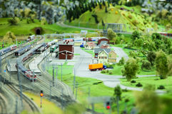 Miniature train station. Miniature land with train station and trees Royalty Free Stock Photo