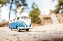 Miniature travelling van. Macro photo Royalty Free Stock Photography