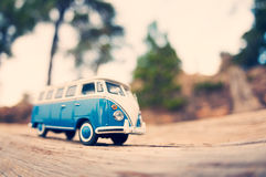 Miniature travelling vintage van Royalty Free Stock Photo