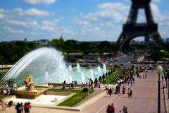 Miniature Trocadero Eiffel Tower Paris. Tilt-Shift effect on the gardens of the Trocadero with its 50 meters water jet and the Eiffel Tower Royalty Free Stock Photo