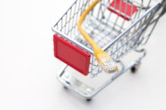 Miniature trolley with LAN cable. Stock Photo