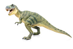 Miniature of tyrannosaurus-rex on white background. Miniauture of tyrannosaurus-rex with mouth open stock photography