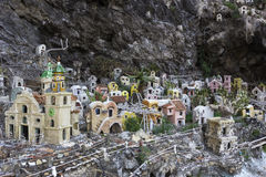 The Miniature Village in the Cliff in Praiano Stock Photos